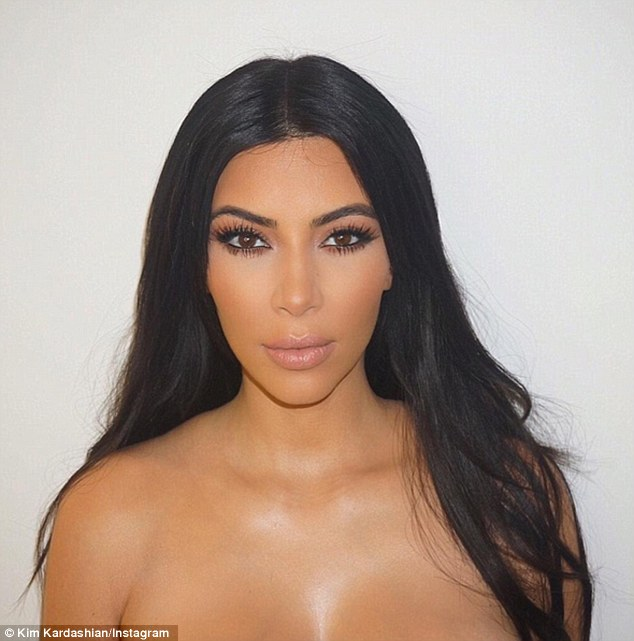 Kanye West's pregnant wife Kim Kardashian shared a seemingly naked snap of herself on her Instagram page and said she 'can't wait' to share a 'contouring make up turtorial' with fans