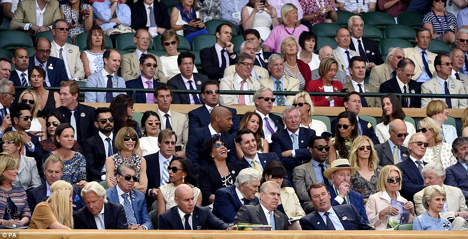 Special guests:A general view of the Royal Box as the Duke of York (front row, centre) chatted with Chairman of the AELTC Philip Brook on day Eleven of the Wimbledon Championships at the All England Lawn Tennis and Croquet Club