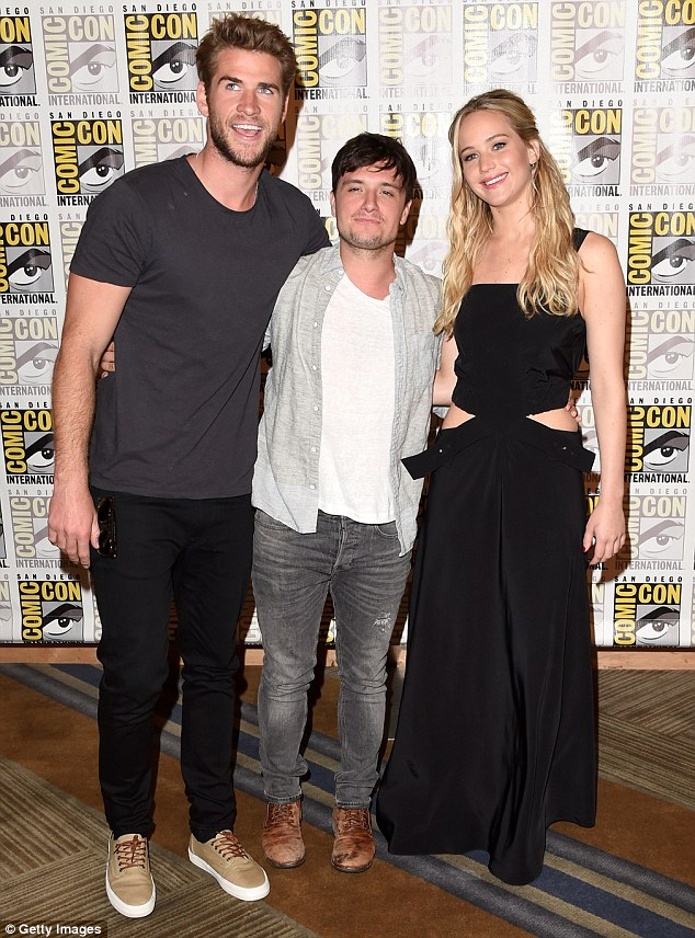 Attractive trio: The talented actress was accompanied by her Hunger Games co-stars Liam Hemsworth and Josh Hutcherson