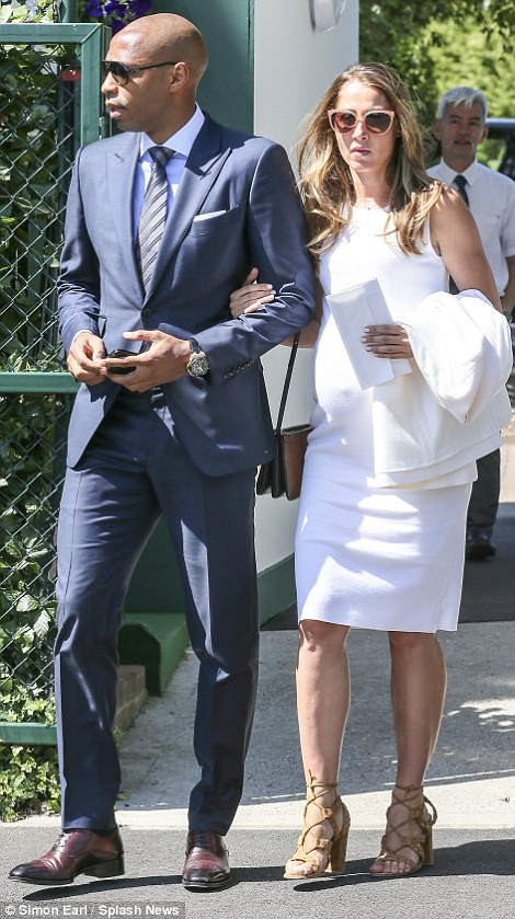 Daytime outing: Former New York Red Bulls forward Henry was joined at the tennis by pregnant girlfriend Andrea Rajacic