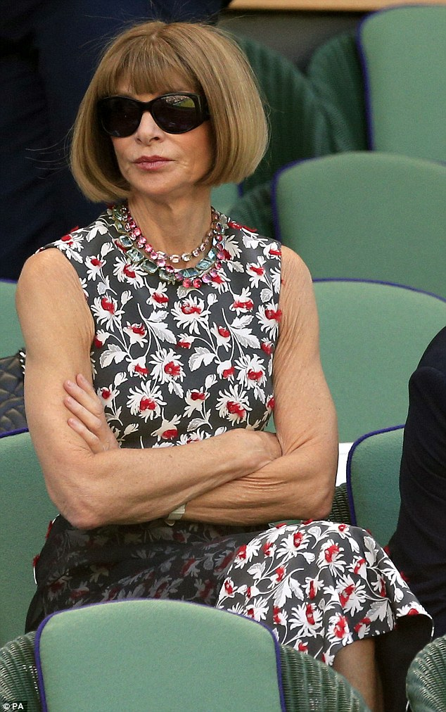 American Vogue editor Anna Wintour looked her usual chic self in a floral-print dress and black Chanel sunglasses