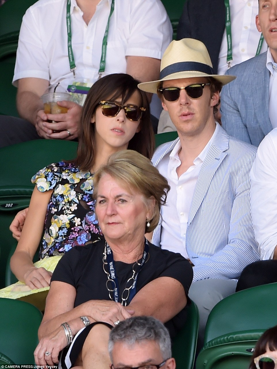 Day date delight: Benedict Cumberbatch and his wife Sophie Hunter spotted on Centre Court as they watched the semi-final match between Novak Djokovic and Richard Gasquet