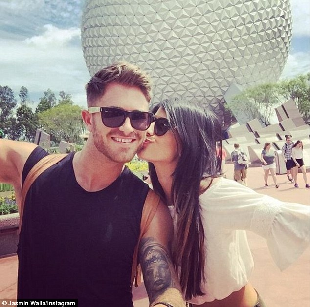 Sealed with a kiss: The reality TV star has been taking to her social media sites to share a series of snap from her trip away with her beau