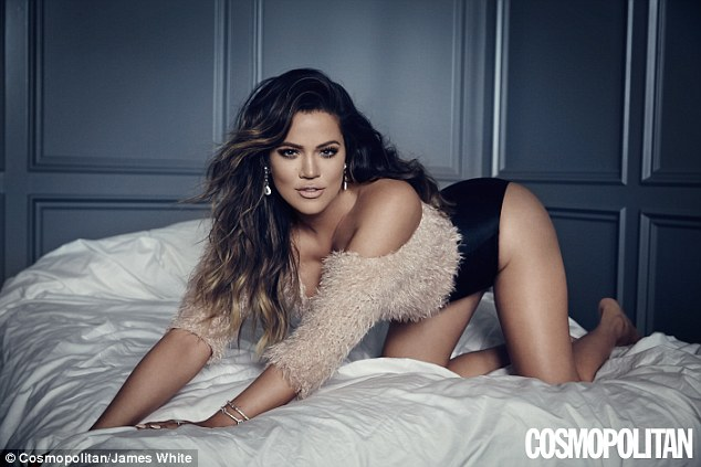 Stunning: Khloe Kardashian looks amazing as she flaunts her toned curves in the new issues of Cosmo Body magazine, wearing little more than briefs and a barely-there knit