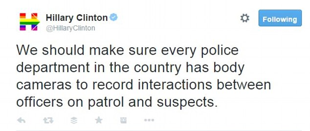 Clinton is laying out policy proposals to end an era of mass incarceration during a speech at Columbia University's David N. Dinkins Leadership and Public Policy Forum today. Ahead of her speech she sent this tweet endorsing body cameras for all police officers