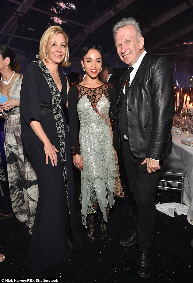In good company: The fashionista hung out with designer Jean Paul Gaultier (right) andNadja Swarovski (left)