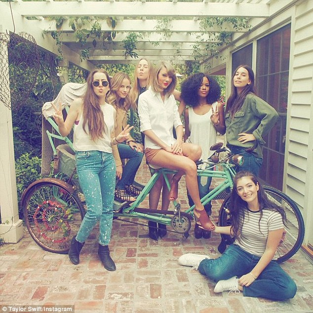 Showbiz crew: Taylor also invited her pals Haim, Lorde and actress Halston Sage along to her gathering, captioning this shot, 'Real love'