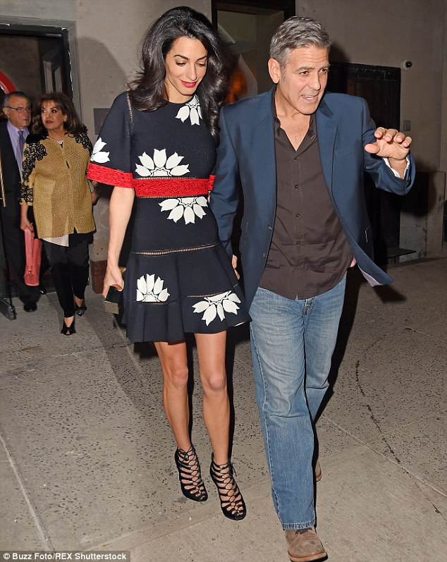 Wait up! Amal's parents Ramzi and Baria Alamuddinwere seen following closely behind as the couple left the eatery