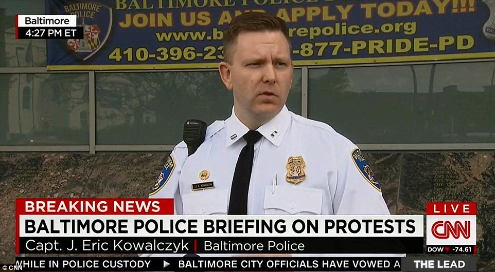 Postponed: Captain Eric J. Kowalczyk said that the highly anticipated police report into the death of Freddie Gray will not be published on Friday as expected