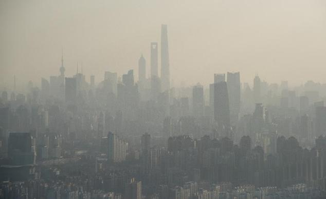 The skyline of Shanghai, China, is pictured on a hazy day on February 8, 2015