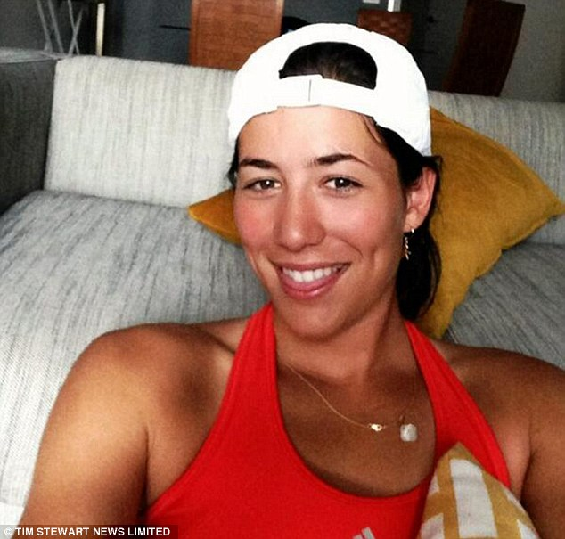 Me, myself and I: Garbine takes a selfie from a hotel room, she admits it can be lonely travelling the world as a professional tennis player