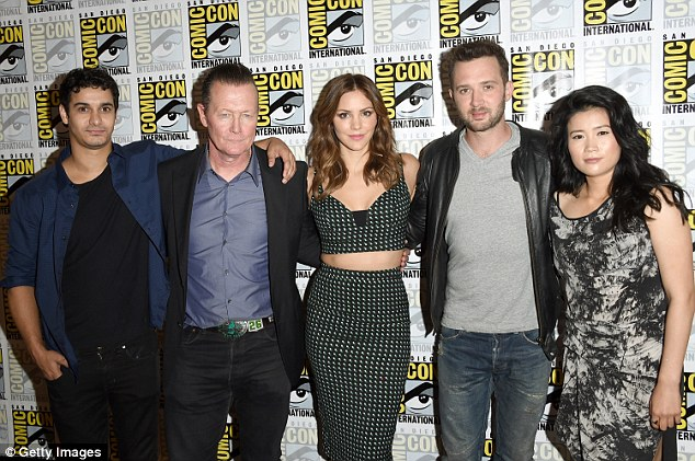The gang's all here: The cast of Scorpion - pictured from left to right -Elyes Gabel, Robert, Katharine McPhee, Eddie Kaye Thomas and Jadyn Wong