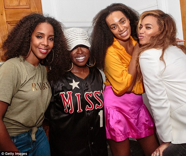 Star studded: Solange was joined by Kelly Rowland, Missy Elliot and her sister Beyonce Knowles in New Orleans, Louisiana on Independence Day