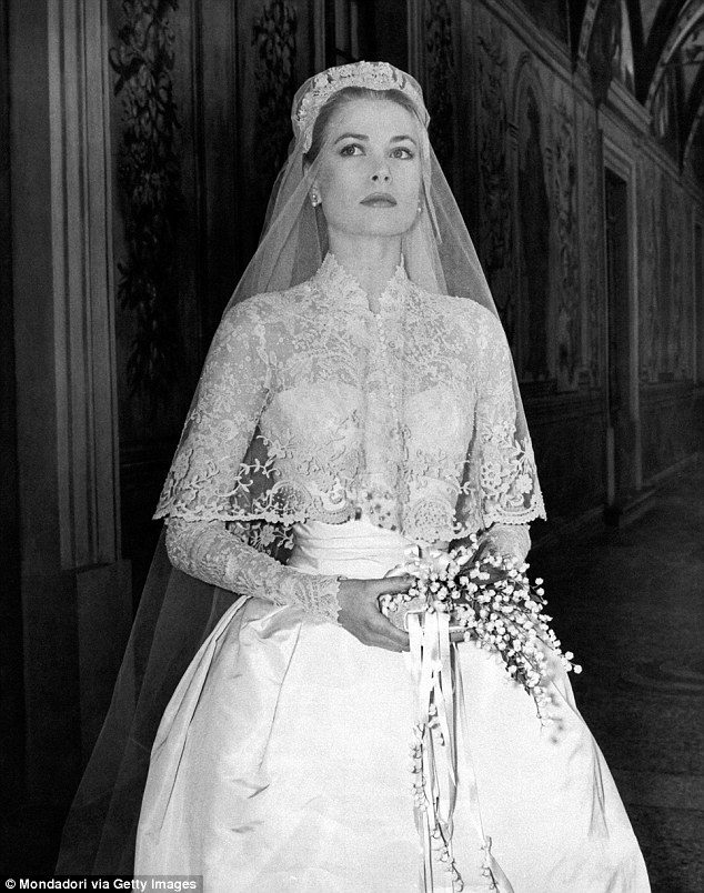 Classic beauty: Kate and Nicky's wedding gowns mirrored the dress designed by Helen Rose of MGM Studios for Grace Kelly when she married Prince Ranier III, Prince of Monaco, in 1956