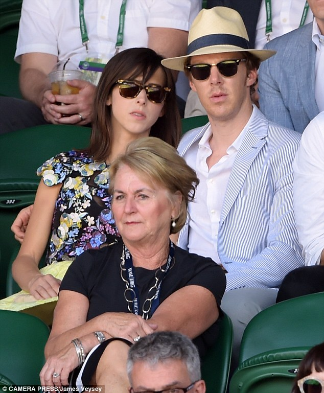 Relaxing: It looked like Benedict Cumberbatch and Sophie Hunter were enjoying some much-needed downtime as they put on an affectionate display at Wimbledon on Friday