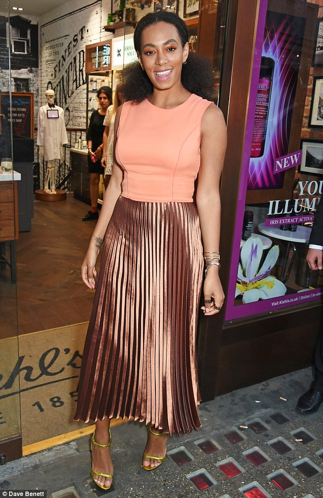 Worth the risk: Despite wearing three different shades of metallic, Solange looked as fashionable as always
