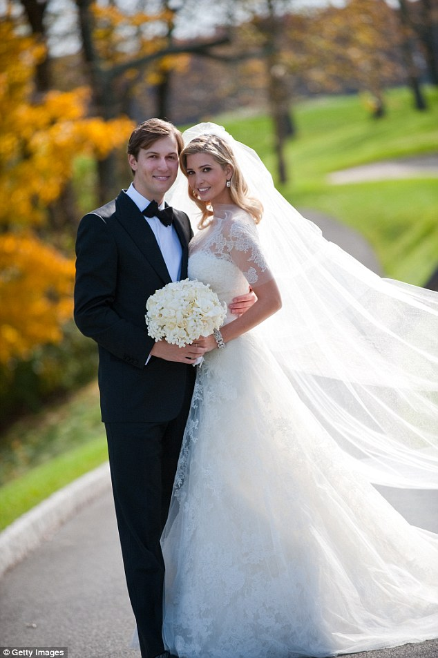 Heir and heiress: Ivanka Trump wore a lace wedding dress designed by Vera Wang when she wed Jared Kushner in 2009. She was also inspired by the Princess of Monaco's timeless look