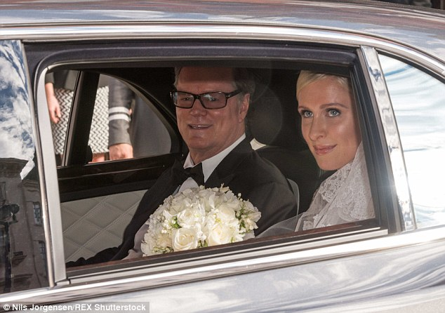 Special moment: 65 years later, Richard Hilton was pictured leaving Claridges Hotel with his daughter Nicky for her wedding to James