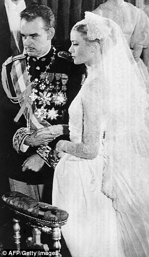 Imitation game: Both Nicky and Grace donned long-sleeve lace gowns featuring high-necks when they marriedJames Rothschild andPrince Ranier III (pictured), respectively