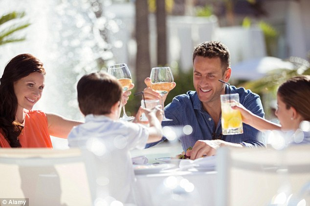 In a Post Office Travel Money report, they found that two-thirds of families on all-inclusive holidays paid £233 on average extra for meals and drinks in local restaurants and bars on their last trip (stock image)
