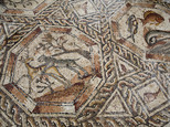 A partial view of  a 1,700-year-old Roman-era mosaic floor in Lod, Israel, Monday, Nov. 16, 2015. Archaeologists found the mosaic last year while building a visitors¿ center meant to display another mosaic, discovered two decades earlier at the same spot. The authority said the newly discovered Roman-era mosaic measures 11 meters by 13 meters (36 feet by 42 feet) and paved the courtyard of a villa in an affluent neighborhood that stood during the Roman and Byzantine eras. (AP Photo/Ariel Schalit)