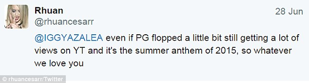 'Flopped': In a recent Twitter exchange with a fan, Iggy seemed to put the blame on Britney for the disappointing reception of their duet Pretty Girls, released in May