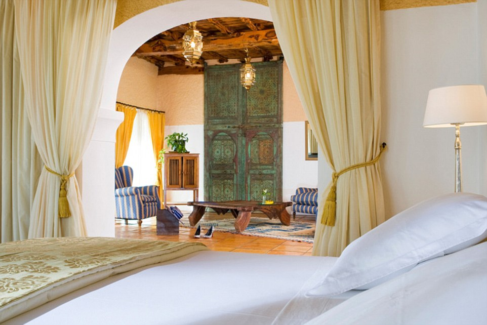 A bedroom in the Ibizan retreat Cas Gasi, a fashion favourite set in four acres of Mediterranean gardens planted with orange and fig trees