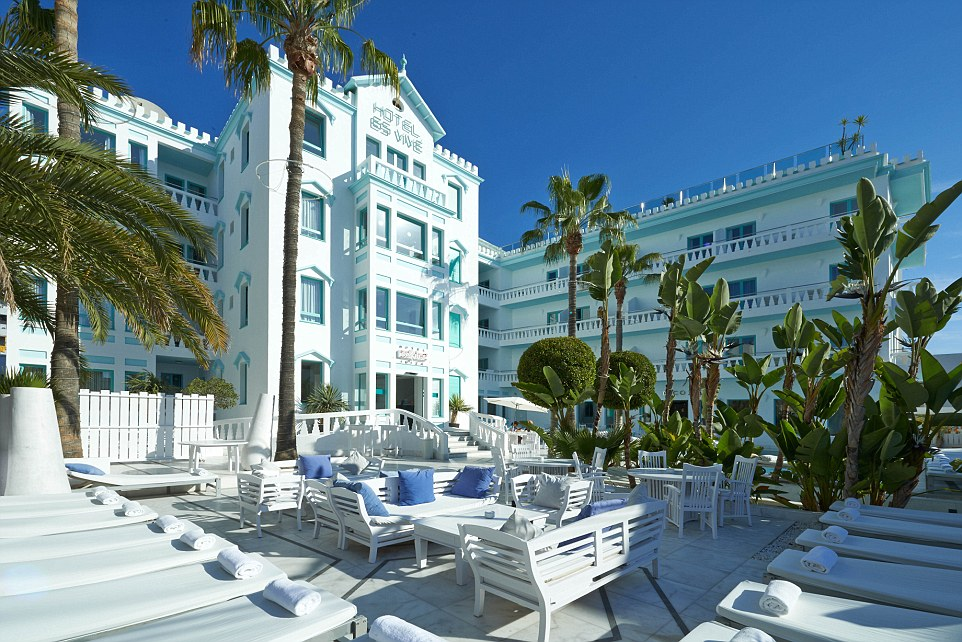 Es Vive hotel near Ibiza Town - the Fash Pack base themselves here or in the island's north, never in Ibiza's package resort of San Antonio