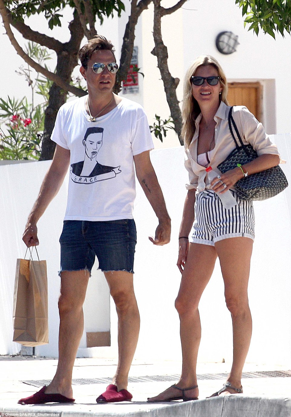 Kate Moss and husband Jamie Hince walk hand in hand in Formentera, the smaller, even more exclusive neighbouring island to Ibiza