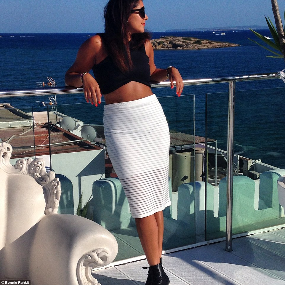 Bonnie Rakhit on the roof top bar at the ultra trendy Es Vive hotel in Ibiza: the hotel is a favourite with models and many international DJs