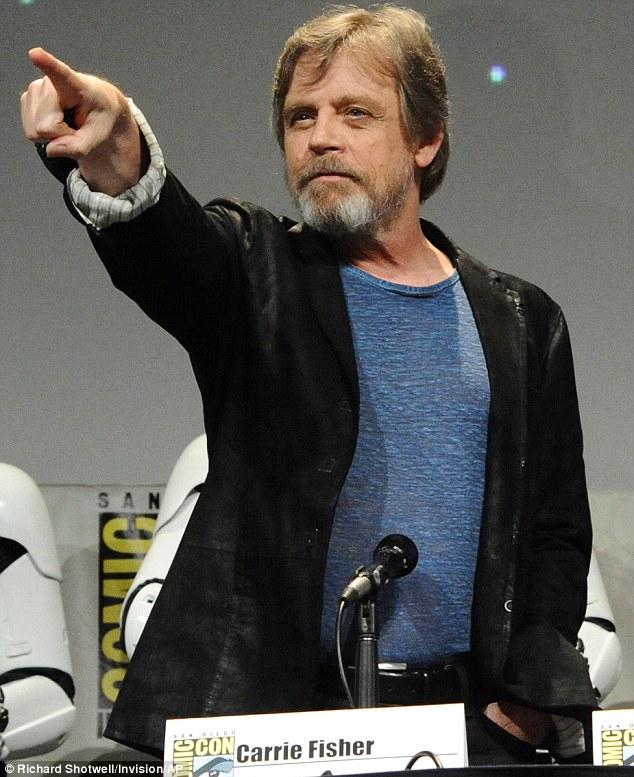 Turning to the dark side? Mark Hamill looked like he was about to send lightning shooting from his finger