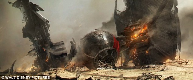 The new Star Wars TIE fighter is seen after crashing in the new clip, which gives hints about the latest movie