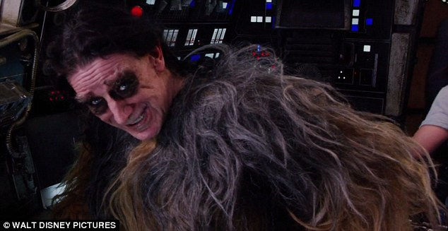 'Getting back to the old days': Peter Mayhew, 71, talked about getting back into the groove of being Chewbacca before warming up his signature growl in costume