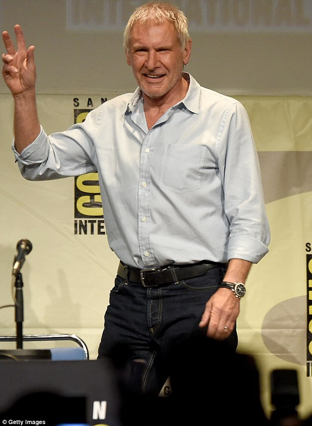 Making waves: Harrison Ford made his first post-plane crash appearance at Comic-Con on Friday