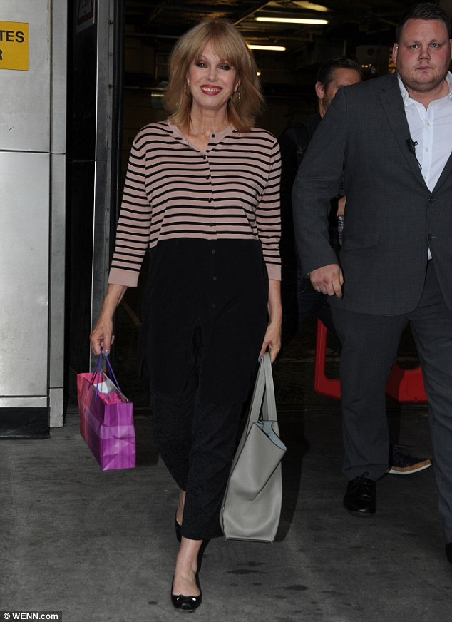 Famous faces: Joanna Lumley made sure she was on hand to help with the final episode and looked lovely in a black striped cardigan and black trousers