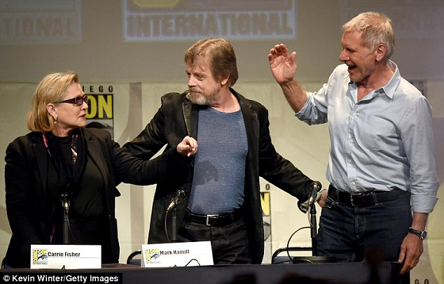 When Hamill joked how they were both after Leia, Ford rolled his eyes and asked Mark: 'How many times do I have to say I'm sorry?'