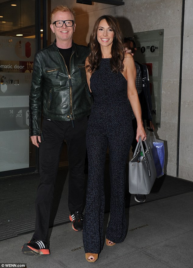 Smart: The pair looked smart in coordinated dark outfits, with Alex adding height to her already slender frame with a pair of camel heels