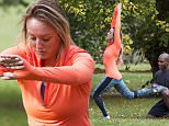 Picture Shows: Charlotte Crosby, Richard Callender  11th November 2015:    Geordie Shore star Charlotte Crosby is put through her paces by trainer Richard Calendar in a park.    Charlotte was looking sporty dressed all in lycra.    Worldwide Rights  Exclusive All Rounder  FameFlynet UK © 2015  Tel : +44 (0)20 3551 5049  Email : info@fameflynet.uk.com