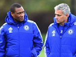 Chelsea FC via Press Association Images MINIMUM FEE 40GBP PER IMAGE - CONTACT PRESS ASSOCIATION IMAGES FOR FURTHER INFORMATION. Chelsea's Michael Emenalo, Jose Mourinho during a training session at the Cobham Training Ground on 20th November 2015 in Cobham, England.