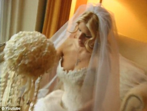Second time around: The starlet during her 2002 wedding to Nick Lachey