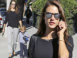 19.NOVEMBER.2015 - SANTA MONICA - USA\n*STRICTLY AVAILABLE FOR UK AND GERMANY USE ONLY*\nALESSANDRA AMBROSIO WALKS WITH HER SON NOAH MAZUR IN BEVERLY HILLS. THE MODEL DROPS HER SON OFF AT SCHOOL AND HEADS TO COUNTRY MART. ALESSANDRA WORE PEPPERED GREY SWEATPANTS WITH ESPADRILLES. \nBYLINE MUST READ : XPOSUREPHOTOS.COM\n***UK CLIENTS - PICTURES CONTAINING CHILDREN PLEASE PIXELATE FACE PRIOR TO PUBLICATION ***\n*UK CLIENTS MUST CALL PRIOR TO TV OR ONLINE USAGE PLEASE TELEPHONE 0208 344 2007*