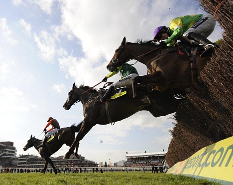 Thriller: Long Run leads them over the last in the Gold Cup