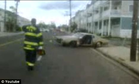 PA fire fighter approaches driver-less car