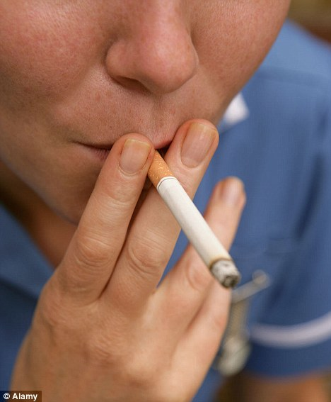 No more: The hospital is banning the use of tobacco products by employees while on their shifts from next July, including on breaks (file picture)