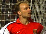 30 Jan 2002:  Dennis Bergkamp of Arsenal celebrates after scoring his second goal during the match between Blackburn Rovers and Arsenal in the FA Barclaycard Premiership at Ewood Park, Blackburn.  DIGITAL IMAGE Mandatory Credit: Laurence Griffiths/GettyImages
