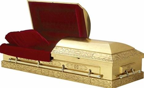 Heavyweight: A gold coffin which may be similar to the one Sir Jimmy requested he be buried in