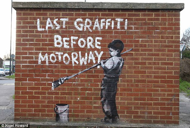 Across the capital: This is one of Banksy's London pieces, which appeared on a small building in North West London