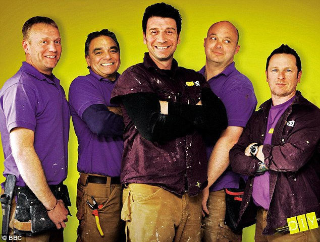 'The team I work with (from left, Chris Frediani, Billy Byrne, Knowles, Julian Perryman and Mark Miller) are all master builders and they have taught me an awful lot,' said Nick Knowles