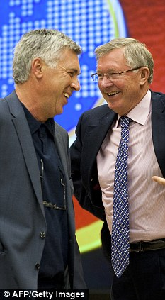 'In love': Carlo Ancelotti (left) spoke of his enormous respect for Sir Alex Ferguson