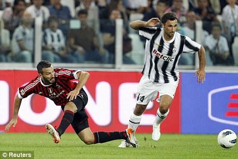 Dangerman: Striker Mirko Vucinic (right) joined Juventus in the summer